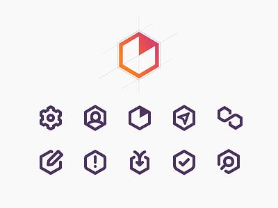 Heap Hexagon app icons web icons icon design iconography icon system icon set icons hexagon hex analytics heap