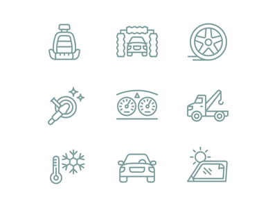 Auto Service Iconography iconography line set icon icons vehicle car auto