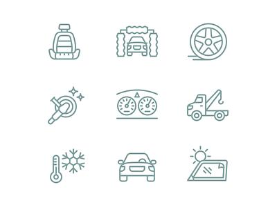 Auto Service Iconography iconography line set icon icons vehicle car auto