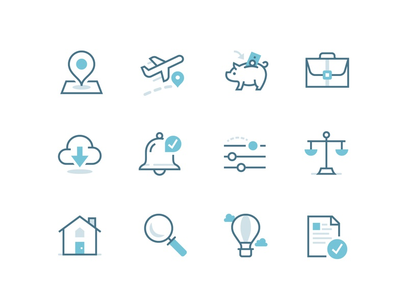 Security Benefit Iconography   Tricolor savings retirement business vector illustrations tricolor multicolor line iconography icon set icons