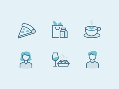 🍕 🍷 ☕️ iconography set icon set icon woman man date dinner coffee cappuccino groceries pizza
