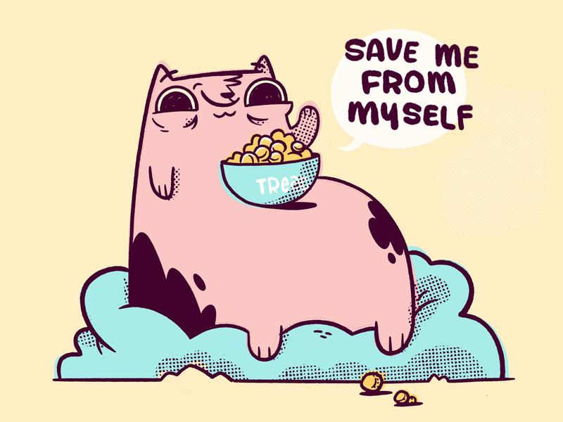 Fat Cat - Save Me From Myself video game happy bowl comic fat beanbag treats cat 80s kids cartoon retro cute character design blake stevenson jetpacks and rollerskates illustration