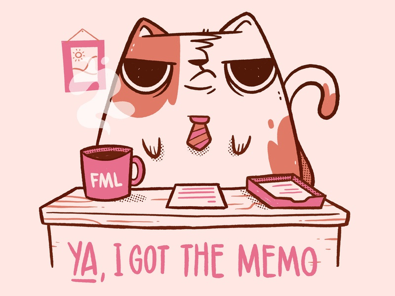 Business Cat - I Got the Memo office comic sad tail tie picture coffee desktop funny business grumpy cat memo office space cartoon cute character design blake stevenson jetpacks and rollerskates illustration