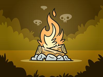 Spooky Campfire ux ui wip spooky log wood bush forest rocks skulls fire campfire camping hipster cartoon cute retro blake stevenson jetpacks and rollerskates illustration