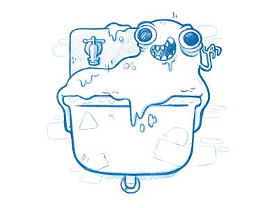 It Came From the Sink sketch wip concept art slime drool eyes blob gross sink cartoon retro cute character design blake stevenson jetpacks and rollerskates illustration