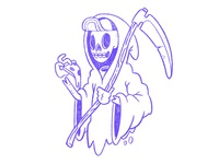 Death or Pizza. Grim Reaper Sketch.
