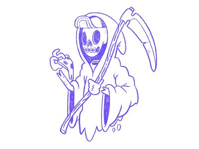 Death or Pizza. Grim Reaper Sketch. logo apparel horror skeleton skateboard pizza love creepy death grim reaper pizza 80s skull hipster retro cute character design blake stevenson jetpacks and rollerskates illustration