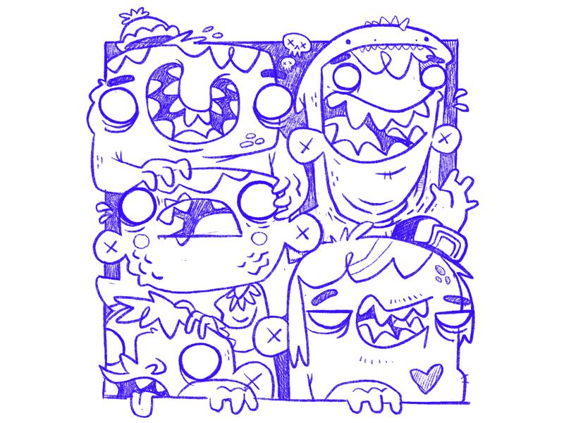 Monster Kids - Sketch WIP wip smile weird eyes teeth mouth skull costume hat monsters 90s 80s hipster cartoon retro cute character design blake stevenson jetpacks and rollerskates illustration