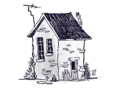 Stay Home stay home window black and white roof door architecture fantasy loose scribbble building house blake stevenson jetpacks and rollerskates illustration