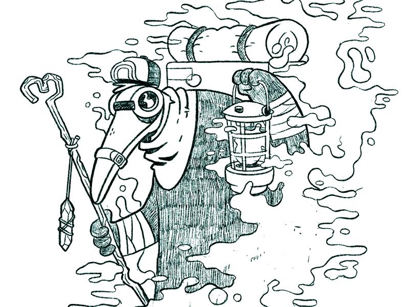 Plague Doctor WIP smoke hat mask crystal lantern wip cult occult plague doctor plague hipster cartoon retro cute character design blake stevenson jetpacks and rollerskates illustration