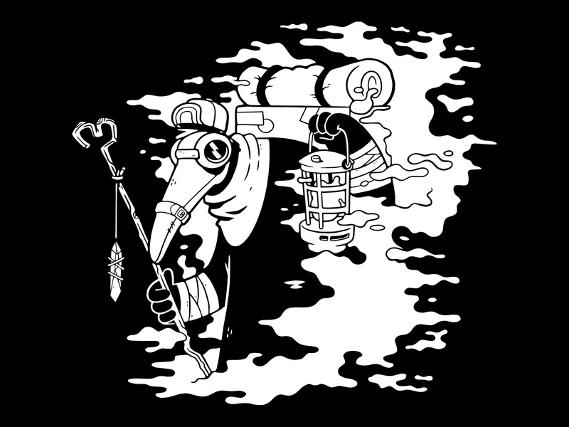 Plague Doctor (Local Charity Shirt Design) creepy clean 1 color apparel design backpack for sale goggles mask crystal tshirt design apparel occult plague doctor hipster 80s cute character design blake stevenson jetpacks and rollerskates illustration