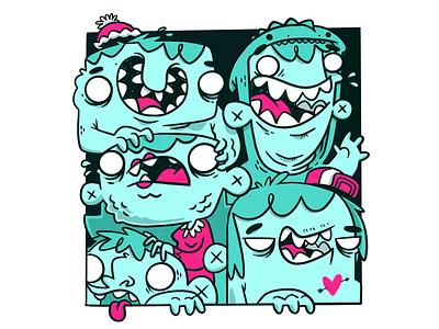 Monster Kids - Colour test characters monochrome apparel heart teeth kids monsters hipster cartoon retro cute character design blake stevenson jetpacks and rollerskates illustration