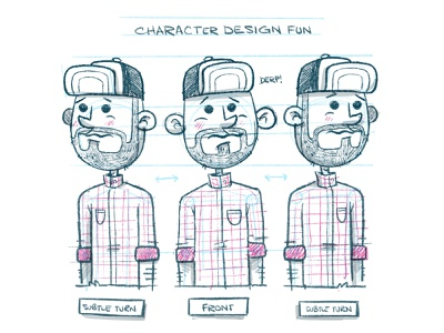 Character Design (subtle) Turnaround game design comic art comic video game concept art wip turnaround plaid beard hat cartoon hipster character design blake stevenson jetpacks and rollerskates illustration