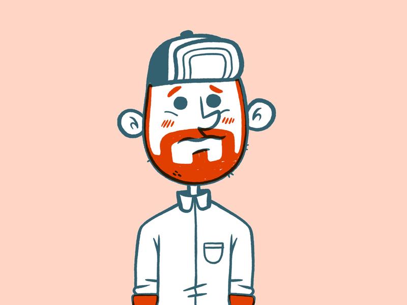 Hipster Guy animation goofy silly concept art designer ux ui beard plaid hat hipster cartoon retro cute character design blake stevenson jetpacks and rollerskates illustration