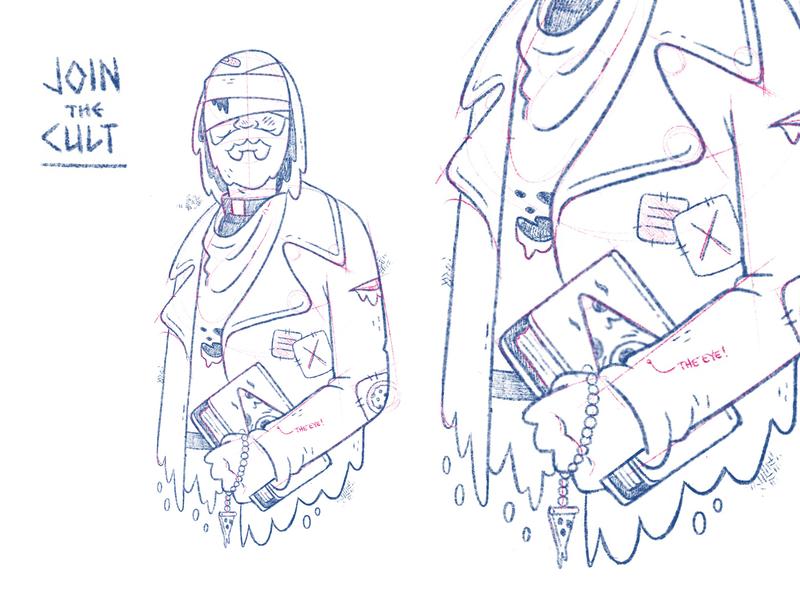 Blind Preacher (Pizza Cult) game design concept art sketch wip comic rosary beard old man cult bible priest occultism preacher occult hipster character design blake stevenson jetpacks and rollerskates illustration