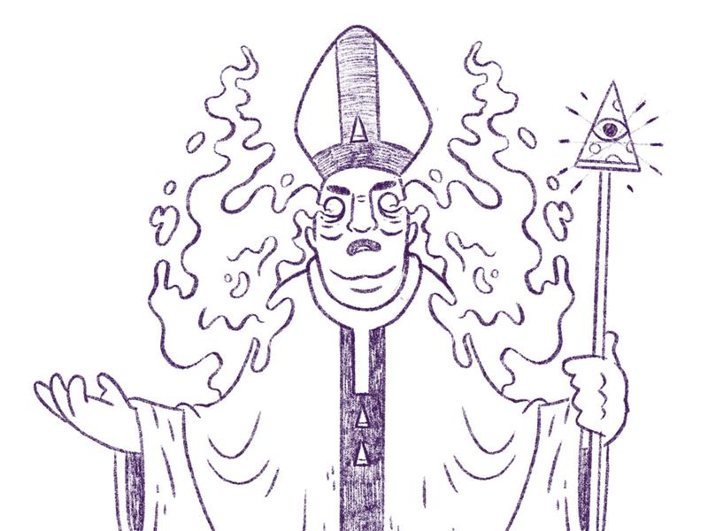 Pizza/Slice Bishop illuminati spirit ghost cult religion creepy bishop occultism pope pizza occult hipster retro character design blake stevenson jetpacks and rollerskates illustration
