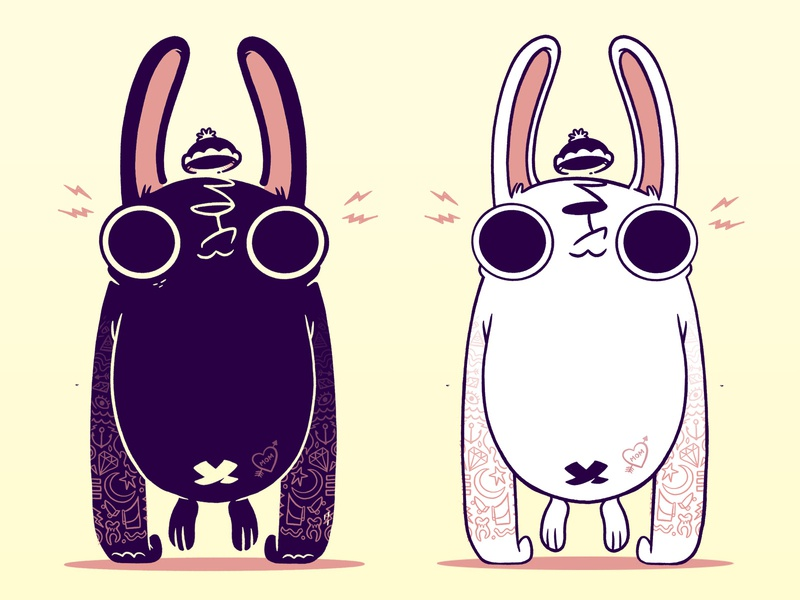 Black and White Gorilla Bunnies negative space logo design black and white color cute animal ears arms hat animal rabbit simple tattoos hipster cartoon retro cute character design blake stevenson jetpacks and rollerskates illustration