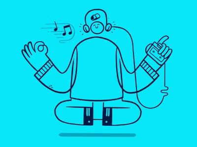 Meditation with music converse monoline happy cross legs walkman cassette music headphone hipster cartoon retro cute character design blake stevenson jetpacks and rollerskates illustration
