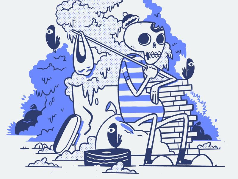 Hobo Skeleton cute bush toque skeleton junk pizza hobo garbage tire converse birds skull hipster retro character design blake stevenson jetpacks and rollerskates illustration