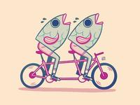 Reverse Mermaid on a Tandem cartoon surreal weird outdoors pair twin wheels mermaid shorts summer shoes cycling bike fish retro cute character design blake stevenson jetpacks and rollerskates illustration