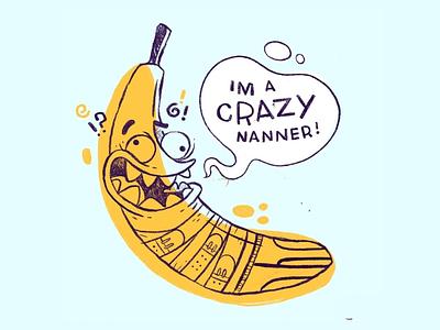 Crazy Banana (Nanner) fruit mouth eyes teeth buckle comic underwear bananas hipster cartoon retro cute character design blake stevenson jetpacks and rollerskates illustration
