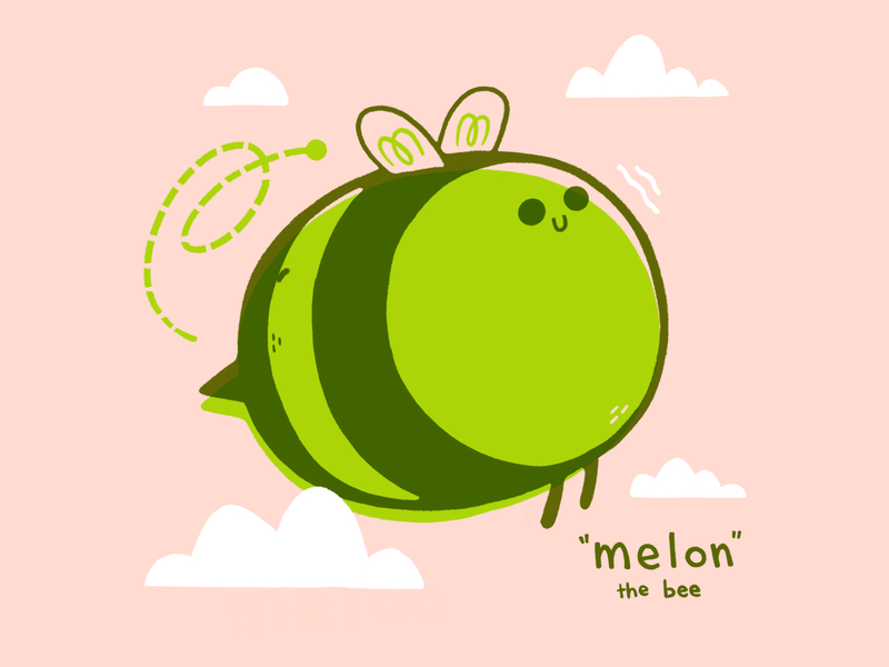 Melon the Bumble Bee flying cloud kids illustration insect bug melon bee hipster cartoon retro cute character design blake stevenson jetpacks and rollerskates illustration