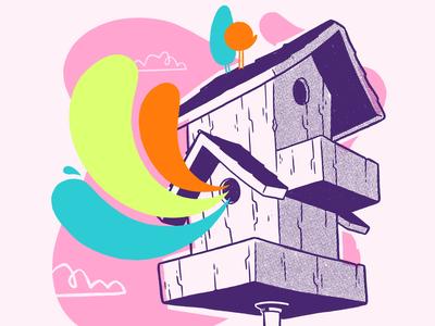 Birdhouse colour test. wip contrast ux ui clean spirit ghost birdhouse cloud rainbow bird hipster cartoon retro cute jetpacksandrollerskates character design blake stevenson jetpacks and rollerskates illustration