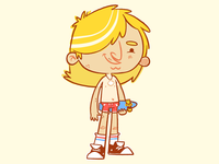 Street Surfin' Skate Rat (Spicoli) 70sdesign concept art wip tan beach bum beach 1970s shorts converse surfer hair skateboard skateboarding 70s retro cute character design blake stevenson jetpacks and rollerskates illustration