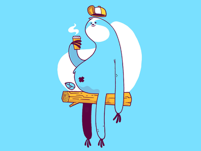 Hipster Coffee Sloth leaf wip concept art happy coffee cup sloths forest tree hat coffee sloth 80s hipster cartoon retro cute character design blake stevenson jetpacks and rollerskates illustration