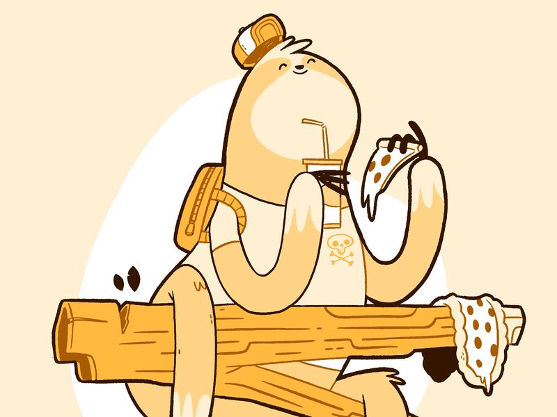 Sloth Rocking Pie (Pizza) hat skull skateboard lazy fast food drink tree backpack pizza sloth kids jetpacksandrollerskates hipster cartoon retro cute character design blake stevenson jetpacks and rollerskates illustration
