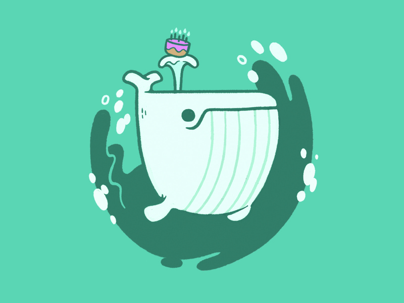 Adorable While Whale ux craft beer beer package design icon animal sea water cake birthday cake birthday whale hipster cartoon retro cute character design blake stevenson jetpacks and rollerskates illustration