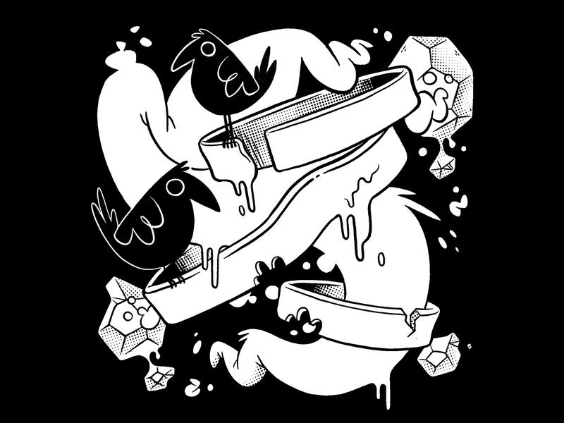 Getting Weird (as usual) ux logo abstract surrealism surreal graffiti asteriods rocks slime bird jetpacksandrollerskates skull hipster cartoon retro cute character design blake stevenson jetpacks and rollerskates illustration