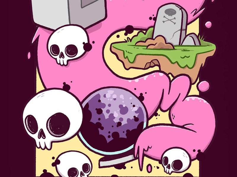 (Skulls, Crystal Ball, Grave) Adobe Live Design Off psychedelic grafitti surreal tombstone grave bubblegum slime crystal ball skull hipster cartoon retro cute character design blake stevenson jetpacks and rollerskates illustration