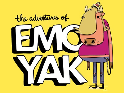 EMO YAK title card indie game ux ui tshirt jeans nickelodeon handlettering typography animal yak emo hipster cartoon retro cute character design blake stevenson jetpacks and rollerskates illustration