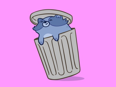 Trash Panda in Trash Can clean animal concept art ui vector happy wip garbage trash can trash panda raccoon toronto hipster cartoon retro cute character design blake stevenson jetpacks and rollerskates illustration