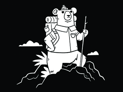 Bear Exploring apparel icon logo mountain rocks backpack clouds animal bear camping exploring hiking hipster cartoon retro cute character design blake stevenson jetpacks and rollerskates illustration