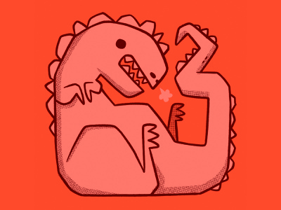 Crunched up T-REX skateboard creature fossil lizard animal monster teeth trex dinosaur cartoon retro cute character design blake stevenson jetpacks and rollerskates illustration