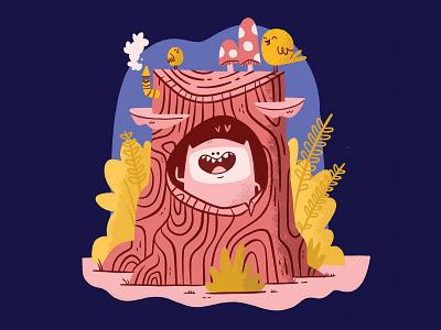 Woodland Buddy storybook mushroom bird smile happy bush forests tree hipster cartoon retro cute character design blake stevenson jetpacks and rollerskates illustration