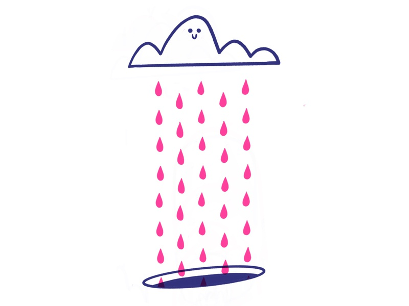 Happy Little Cloud sweet rainbow rainy adorable happy simple vector print offset hole cloud rain cartoon retro cute character design blake stevenson jetpacks and rollerskates illustration