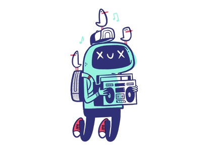 For the Birds, Robot boy happy! print simple hoodie shoes converse stereo music backpack 80s boombox birds hipster cartoon retro cute character design blake stevenson jetpacks and rollerskates illustration