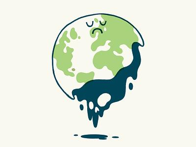 Our Poor Planet ux ui editorial oil upset tear waste sad skull planet earth planet environmental environment hipster cartoon cute character design blake stevenson jetpacks and rollerskates illustration