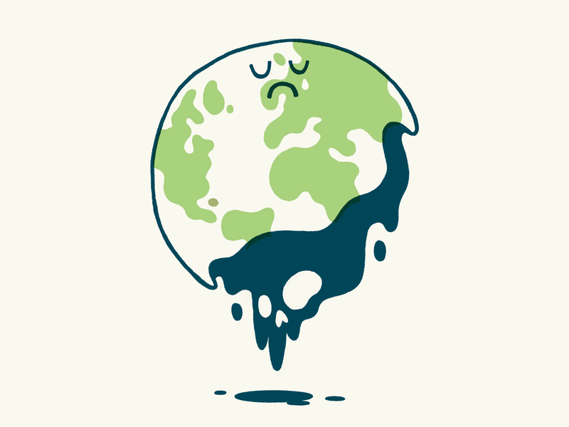Our Poor Planet ux ui editorial oil upset tear waste sad skull planet earth planet environmental environment hipster cartoon cute character design blake stevenson jetpacks and rollerskates illustration