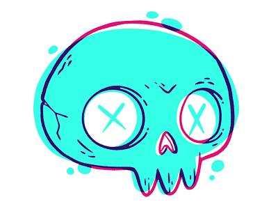 Skulltober is happening scary art print silkscreen logo overprint bones 90s skeleton halloween ui ux 80s hipster skull retro cute character design blake stevenson jetpacks and rollerskates illustration