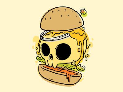 Cheesy Skull Burger animation slime drips hand drawn cheese ux ui logo food hamburger 80s skull hipster cartoon retro cute character design blake stevenson jetpacks and rollerskates illustration