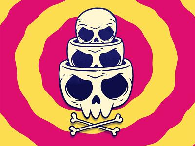 Russian Nesting Skulls surreal art 90s silly psychedelic skateboard art skull and crossbones surreal 80s skull hipster cartoon retro cute character design blake stevenson jetpacks and rollerskates illustration