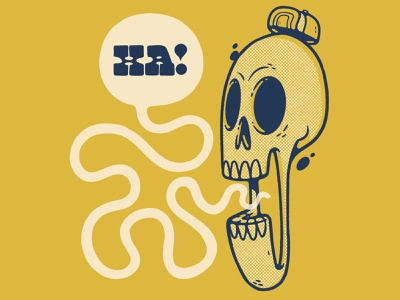 Lauighing Skull ux ui logo comic speech bubble hat bones inktober skeleton typography lettering hand lettering laughing skull hipster retro character design blake stevenson jetpacks and rollerskates illustration