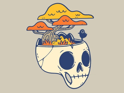 BONEsai Skull skulltober halloween inktober fall branding forest bird tree skull logo ux ui hipster cartoon retro cute character design blake stevenson jetpacks and rollerskates illustration