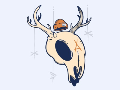 Deer Skull horror halloween inktober scary forest animal deer witch branding ux ui logo skull hipster cartoon retro character design blake stevenson jetpacks and rollerskates illustration