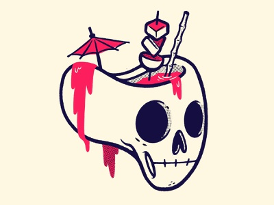 Skull Full of Drink straw branding creepy slime ui ux skeleton inktober halloween logo 80s skull hipster cartoon retro cute character design blake stevenson jetpacks and rollerskates illustration