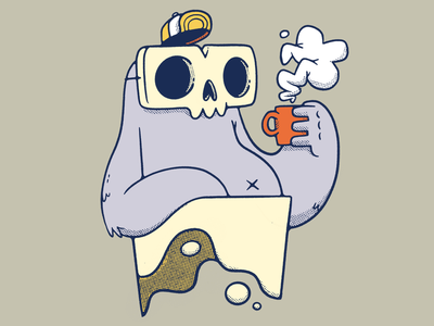 Skull Monster and a Cup of Joe coffee cup funny weird floating mask hat ux ui logo coffee 80s skull hipster cartoon retro cute character design blake stevenson jetpacks and rollerskates illustration